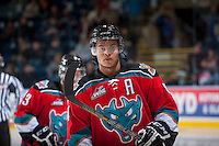 KELOWNA, CANADA - OCTOBER 4:  Madison Bowey #4 of the Kelowna Rockets skates onto the ice against the Portland Winterhawks  at the Kelowna Rockets on October 4, 2013 at Prospera Place in Kelowna, British Columbia, Canada (Photo by Marissa Baecker/Shoot the Breeze) *** Local Caption ***
