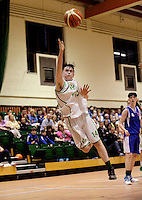 21 Aug 2016:  Kevyn Burke, Moycullen, attempts a shot jumping through the air.  Boys U16 Basketball final, Malahide, Dublin v Moycullen, Galway. 2016 Community Games National Festival 2016.  Athlone Institute of Technology, Athlone, Co. Westmeath. Picture: Caroline Quinn