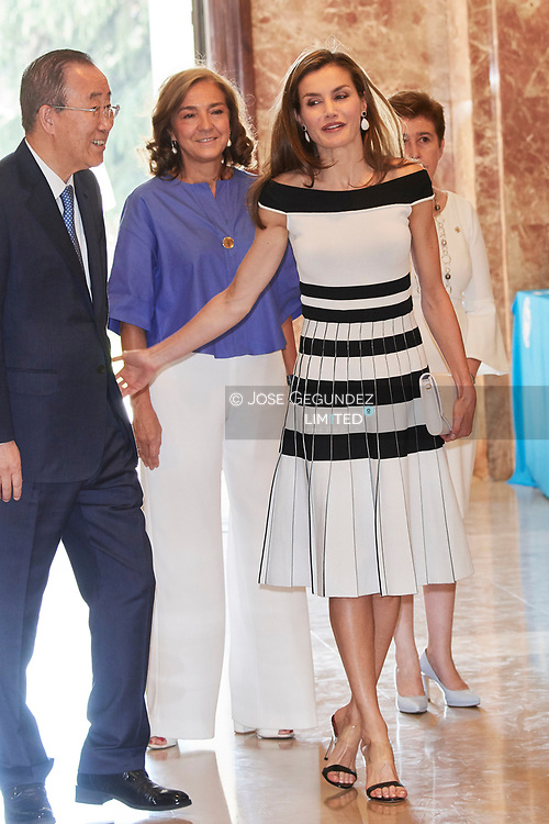 Queen Letizia of Spain, Ban Ki-moon attended UNICEF Awards 2017 at CSIC headquaters on June 13, 2017 in Madrid, Spain.