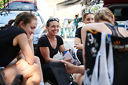 Kim Palmer chairs the Wiggle High5 team talk at Lotto Thuringen Ladies Tour 2018 - Stage 1, an 82.5 km road race starting and finishing in Schleusingen, Germany on May 28, 2018. Photo by Sean Robinson/Velofocus.com