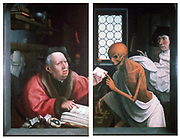 Death and the Miser', c1500. Oil on wood. Jan Provost (1465-1529) Netherlandish artist. Doors of a triptych. Death interrupting the Miser in the middle of a transaction. Macabre Allegory Moneybag Window Leaded Light Glass