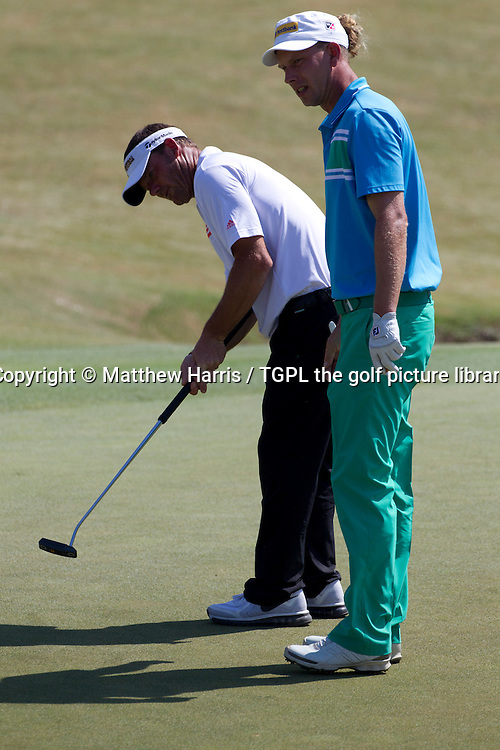 Alex CEJKA (GER) and Marcel SIEM (GER) Wednesday practice US Open Championship 2014,Pinehurst No 2,Pinehurst,North Carolina,USA.