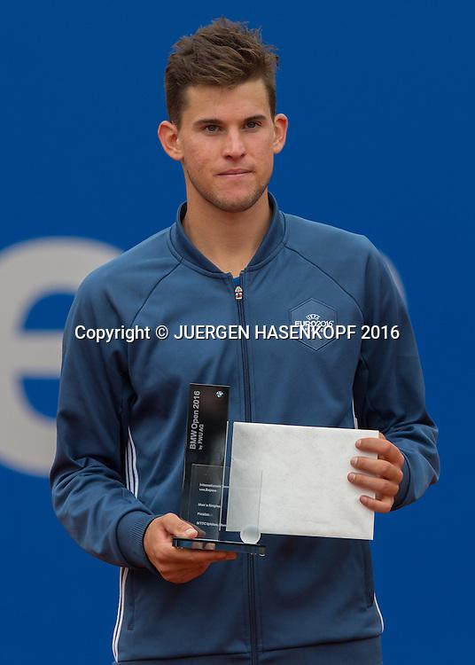 Finalist Dominic Thiem (AUT),Siegerehrung, Endspiel, Final<br /> <br /> Tennis - BMW Open2016 -  ATP  -  MTTC Iphitos - Munich - Bavaria - Germany  - 1 May 2016.
