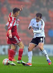 Bristol City's Neil Kilkenny tackles Middlesbrough's Josh McEachran - Photo mandatory by-line: Joe Meredith/JMP  - Tel: Mobile:07966 386802 24/11/2012 - Middlesbrough v Bristol City - SPORT - FOOTBALL - Championship -  Middlesbrough  - River Side Stadium