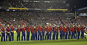 The LIons line up for a moments silence prior to the rugby test match between the All Blacks and the Lions played at Eden Park, Auckland, 09 July 2005. The All Blacks won 38-19 and the series 3-0. Photo: Michael Bradley/PHOTOSPORT