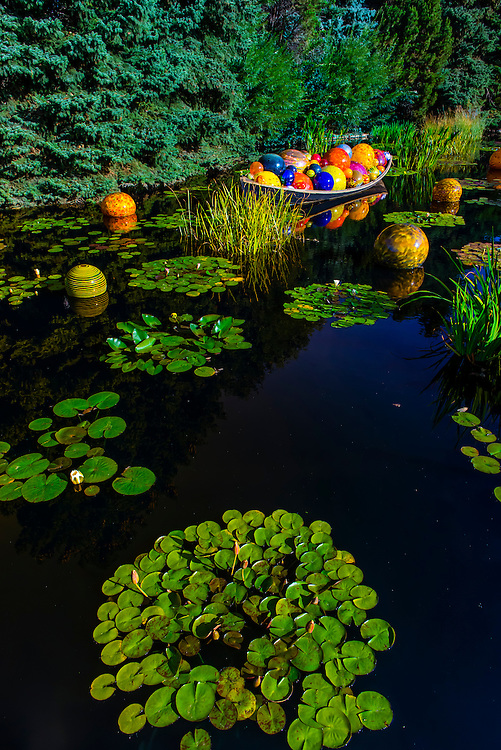 """Float Boat"", Monet Pool, Dale Chihuly Exhibition (blown glass), Denver Botanic Gardens, Denver, Colorado USA."