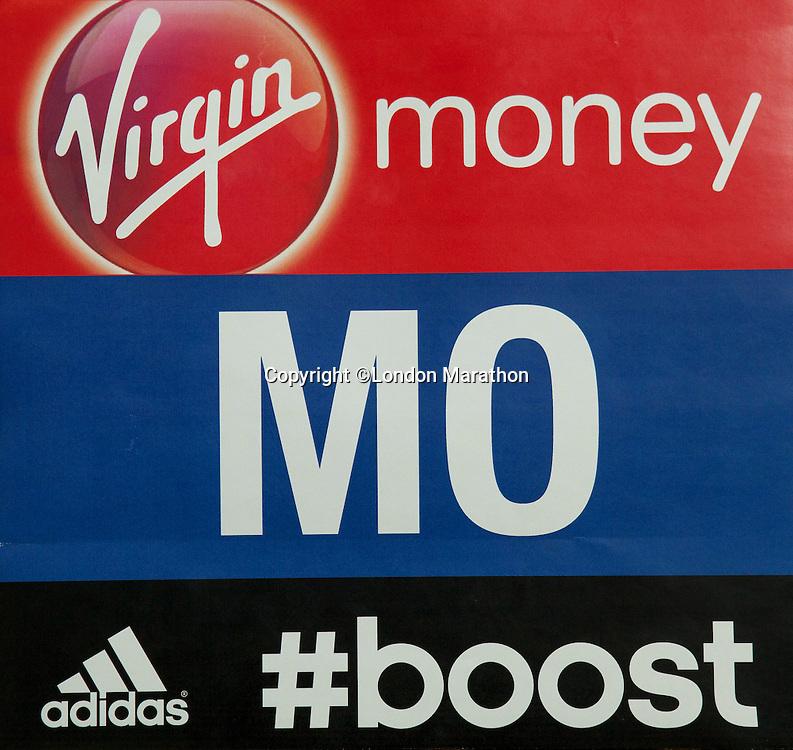 Mo Farah's vest ID from the Money London Marathon 2014 on Sunday 13 April 2014<br /> Photo: Neil Turner/Virgin Money London Marathon<br /> media@london-marathon.co.uk