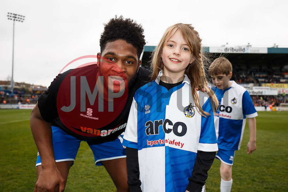 Mascot poses with Ellis Harrison of Bristol Rovers - Photo mandatory by-line: Rogan Thomson/JMP - 07966 386802 - 03/04/2015 - SPORT - FOOTBALL - Bristol, England - Memorial Stadium - Bristol Rovers v Chester - Vanarama Conference Premier.