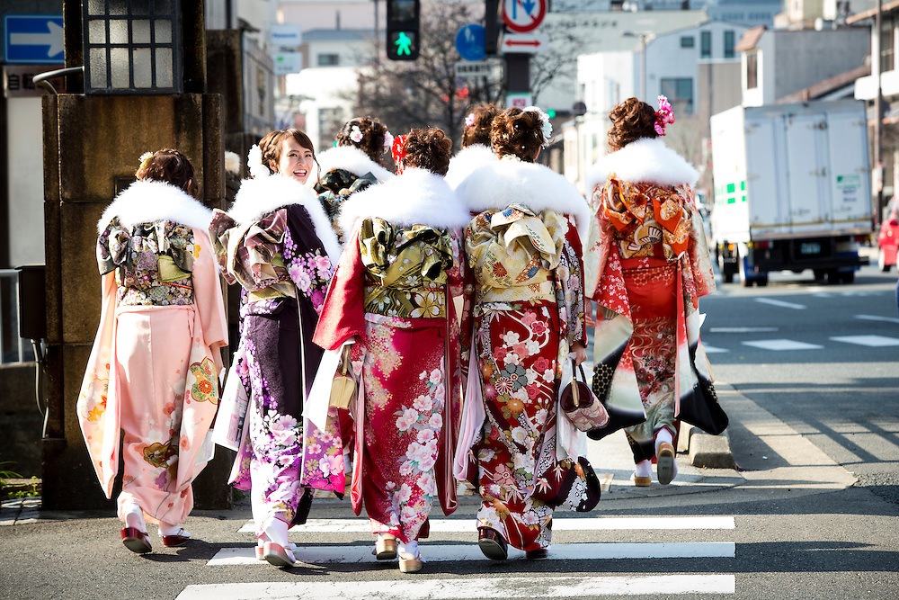 KYOTO , JAPAN - JANUARY 11 : A woman dress in Kimono walks in the street of Kiyomizu-dera during the coming of age in Kyoto prefecture, Japan on Sunday, January 11, 2016.  A Japanese holiday held annually on the second Monday of January in order to congratulate and encourage all those who have reached the age of 20 years old.<br /> <br /> Photo: Richard Atrero de Guzman