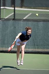 Jennifer Stevens in action against Wake.  The Virginia Cavaliers Women's Tennis team fell to the #14 Wake Forest Demon Decons 6-1 at the Snyder Tennis Center in Charlottesville, VA on March 25, 2007.