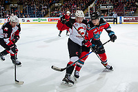 KELOWNA, CANADA - NOVEMBER 29: Leif Mattson #28 of the Kelowna Rockets is checked by Jackson Leppard #8 as Kody McDonald #26 of the Prince George Cougars takes possession of the puck on November 29, 2017 at Prospera Place in Kelowna, British Columbia, Canada.  (Photo by Marissa Baecker/Shoot the Breeze)  *** Local Caption ***
