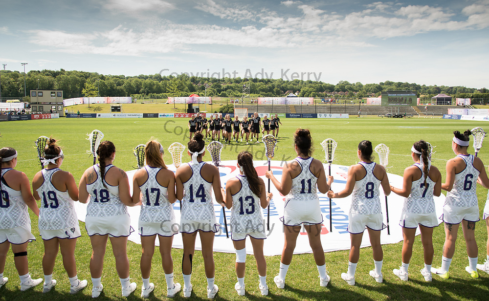 The Haudenosaunee line up to accept the haka challange from New Zealand at the 2017 FIL Rathbones Women's Lacrosse World Cup at Surrey Sports Park, Guilford, Surrey, UK, 15th July 2017