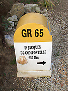 Along the Way of Saint James to Santiago de compostela, there were many route markers. This shows that it was only 953km to go! The route in France is designated the GR65 and a major national long distance path.