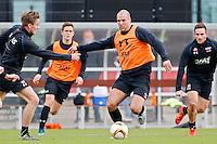 ALKMAAR - 20-10-2015, training Ron Vlaar, AFAS Stadion, AZ speler Ben Rienstra (l), AZ speler Vincent Janssen (r).