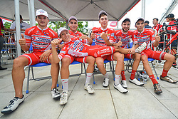 September 24, 2017 - Zhuhai, Guangdong, China - (Left-Right) Marco Benfatto, Matteo Malucelli, Matteo Spreafico, Raffaello Bonusi and Luca Pacioni (all Androni Sidermec Bottecchia team) celebrate with their team-mate Kevin Rivera Serran the team and individual win in the 2017 Tour of China 2. .On Sunday, 24 September 2017, in Hengqin district, Zhuhai City, Guangdong Province, China. (Credit Image: © Artur Widak/NurPhoto via ZUMA Press)