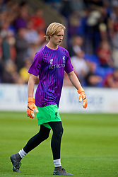 BIRKENHEAD, ENGLAND - Tuesday, July 10, 2018: Liverpool's substitute goalkeeper Caoimhin Kelleher warms-up at half-time during a preseason friendly match between Tranmere Rovers FC and Liverpool FC at Prenton Park. (Pic by Paul Greenwood/Propaganda)