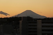 Mt Fuji with residential high rise in the front at dusk