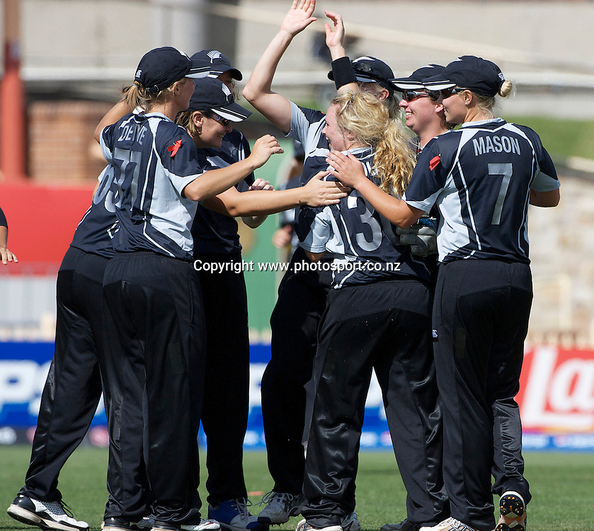 Sydney-22 March:   Lucy Doolan is congratulated on taking a wicket  during the ICC Women's World Cup Cricket final between New Zealand and England at North Sydney Oval, Sydney, Australia from March 22, 2009. England won the final by four wickets. Photo by Tim Clayton.