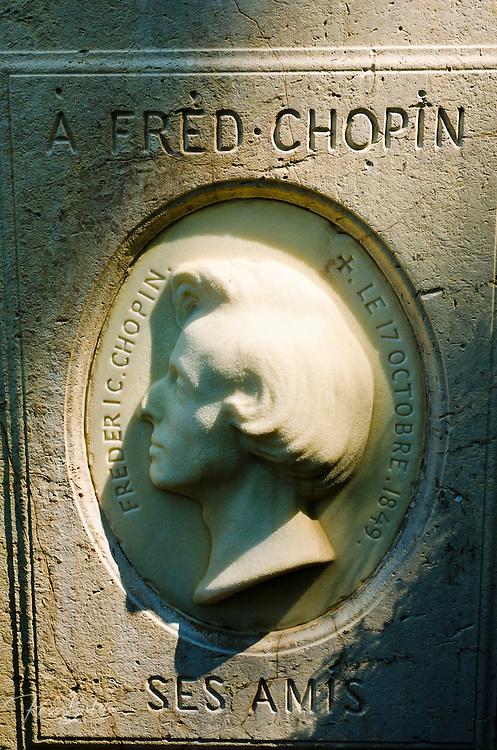 Bust on Frédéric Chopin's grave at Père Lachaise Cemetery, Paris, France