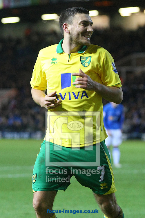 Picture by Paul Chesterton/Focus Images Ltd +44 7904 640267.05/01/2013.Robert Snodgrass of Norwich scores his sides 3rd goal and celebrates during the The FA Cup match at London Road, Peterborough.