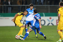 03.03.2015, Scholz Arena, Aalen, GER, DFB Pokal, VfR Aalen vs TSG 1899 Hoffenheim, Achtelfinale, im Bild Collin Quaner (VfR Aalen) Tobias Strobl ( TSG 1899 Hoffenheim ) rechts Kevin Volland ( TSG 1899 Hoffenheim ) // during German DFB Pokal last sixteen match between VfR Aalen and TSG 1899 Hoffenheim at the Scholz Arena in Aalen, Germany on 2015/03/03. EXPA Pictures © 2015, PhotoCredit: EXPA/ Eibner-Pressefoto/ Langer<br /> <br /> *****ATTENTION - OUT of GER*****