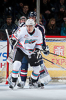 KELOWNA, CANADA - JANUARY 22: Justin Kirkland #23 of Kelowna Rockets looks for the pass in front of the net of the Tri City Americans on January 22, 2016 at Prospera Place in Kelowna, British Columbia, Canada.  (Photo by Marissa Baecker/Shoot the Breeze)  *** Local Caption *** Justin Kirkland;