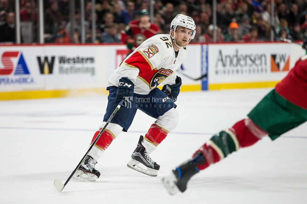 Dec 13, 2016; Saint Paul, MN, USA; Florida Panthers forward Kyle Rau (92) against the Minnesota Wild at Xcel Energy Center. The Wild defeated the Panthers 5-1. Mandatory Credit: Brace Hemmelgarn-USA TODAY Sports
