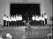 Vienna Boys Choir.   (P5)..1981..25.11.1981..11.25.1981..25th November 1981..The Vienna Boys Choir performed a concert at the Royal Dublin Showgrounds (RDS),Concert Hall,  Ballsbridge, Dublin, last night. A packed audience enjoyed the recital from the world renowned choir...Under the guidance of their director/pianist the choir are pictured performing for the packed audience at the RDS Concert Hall.