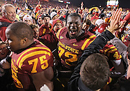 November 18, 2011: Iowa State Cyclones offensive linesman Kelechi Osemele (72) is pumped up following the end of the NCAA football game between the Oklahoma State Cowboys and the Iowa State Cyclones at Jack Trice Stadium in Ames, Iowa on Friday, November 18, 2011. Iowa State upset Oklahoma State 37-31.