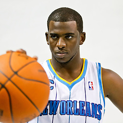 Sep 27, 2010; New Orleans, LA, USA; New Orleans Hornets guard Chris Paul (3) poses during media day at the New Orleans Arena. Mandatory Credit: Derick E. Hingle