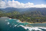 Haena Beach, North Shore, Kauai, aerial