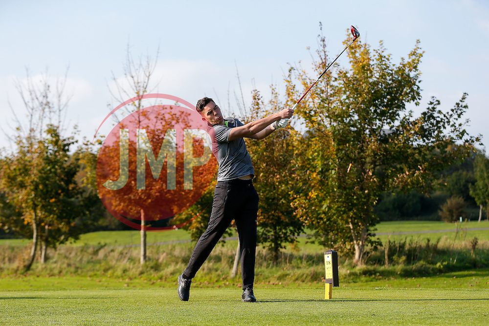"Lee Nicholls of Bristol Rovers joins team ""St Austell"" as they take part in the Bristol Rovers charity golf day - Mandatory byline: Rogan Thomson/JMP - 07966 386802 - 12/10/2015 - GOLF - Farrington Park Golf Club - Bristol, England - Bristol Rovers Golf Day."