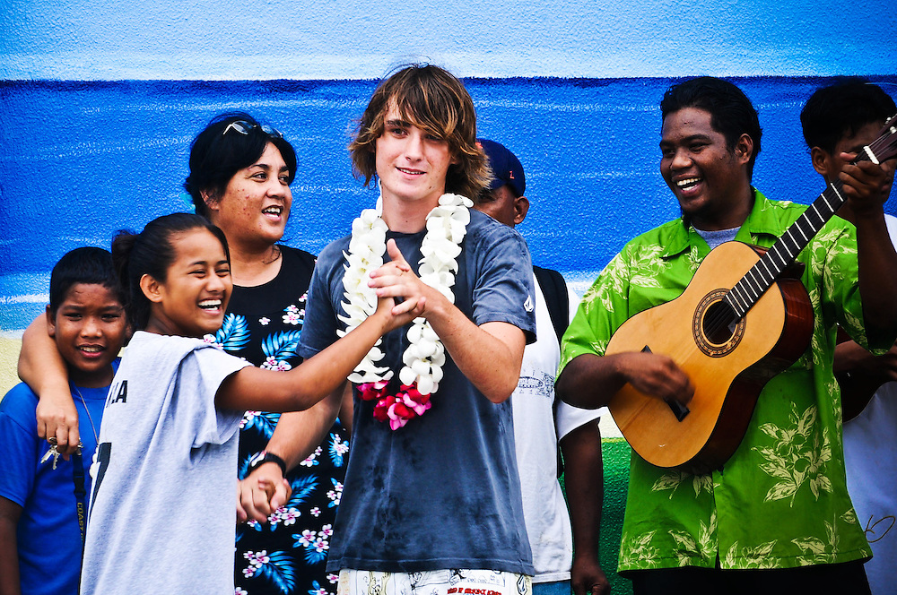 Zac dances with a local youth group, Youth to Youth, in Majuro, Marshall Islands