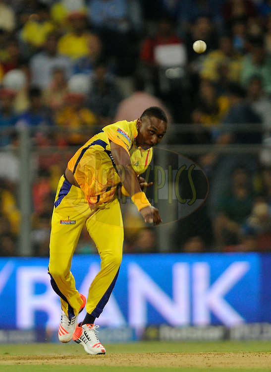 Dwayne Bravo of Chennai Super Kings bowls during match 12 of the Pepsi IPL 2015 (Indian Premier League) between The Mumbai Indians and The Chennai Super kings held at the Wankhede Stadium in Mumbai India on the 17th April 2015.<br /> <br /> Photo by:  Pal Pillai / SPORTZPICS / IPL
