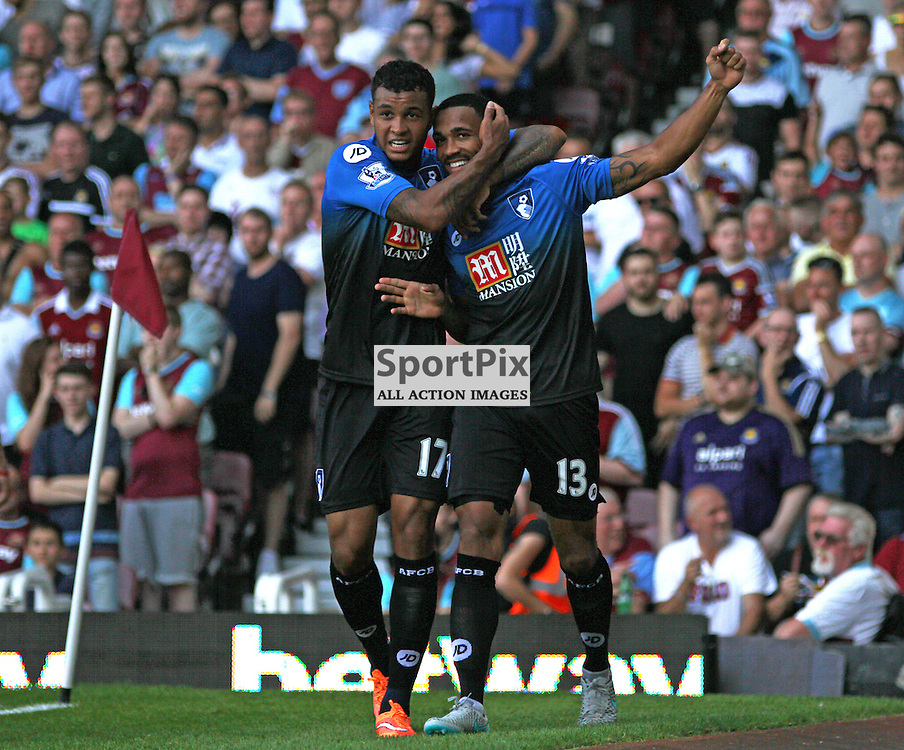 callum wilson celebrates his first goal During West Ham United vs Bournemouth FC on Saturday the 22nd August 2015