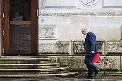 © Licensed to London News Pictures. 20/02/2018. London, UK. Foreign Secretary Boris Johnson entering the Foreign and Commonwealth Office. Photo credit: Rob Pinney/LNP