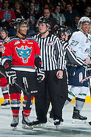KELOWNA, CANADA - MARCH 18: Evan Wardley #27 of Seattle Thunderbirds trash talks Tyrell Goulbourne #12 of Kelowna Rockets on March 18, 2015 at Prospera Place in Kelowna, British Columbia, Canada.  (Photo by Marissa Baecker/Shoot the Breeze)  *** Local Caption *** Evan Wardley; Tyrell Goulbourne;