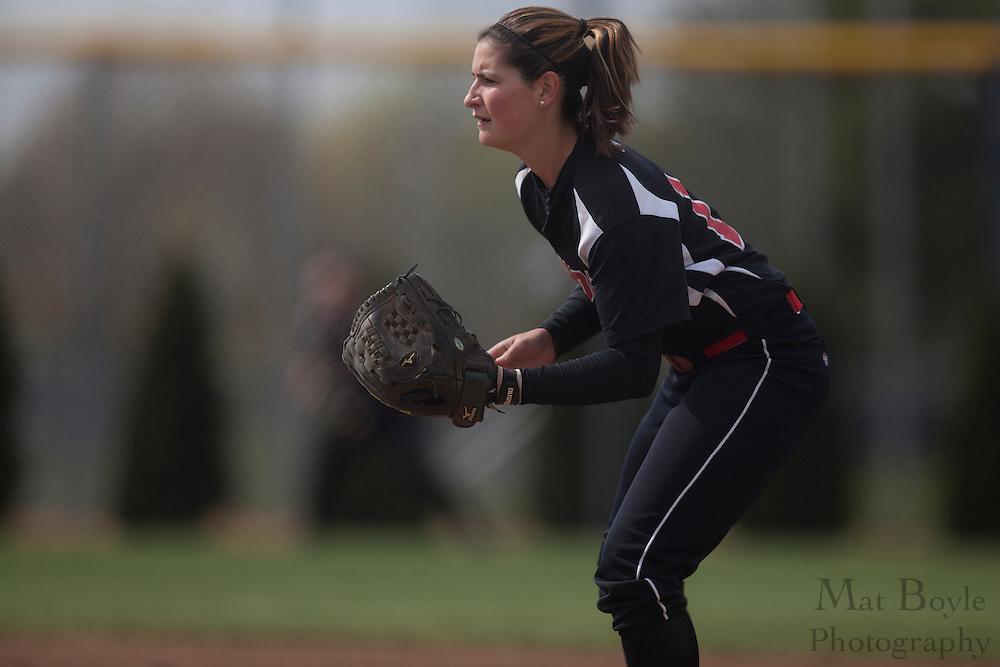 Rutger's Camden Softball  2B Courtney Ray (14); Rutgers-Camden softball at Rowan University on Tuesday April 10, 2012 in Glassboro, NJ. (photo / Mat Boyle)