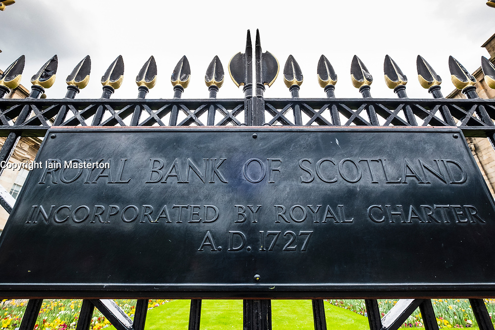 Detail of plaque outside headquarters of Royal Bank of Scotland in St Andrews Square in Edinburgh, Scotland, UK