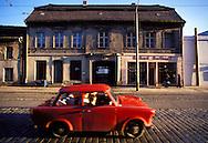 GDR, German Democratic Republic, Eastberlin, district Koepenick, Trabant car.....DDR, Deutsche Demokratische Republik, Ostberlin, Stadtteil Koepenick, Trabi...1990