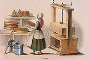Cheese making: removing a cheese from the press.  From 'Graphic Illustrations of Animals and Their Utility to Man', London, c1850.