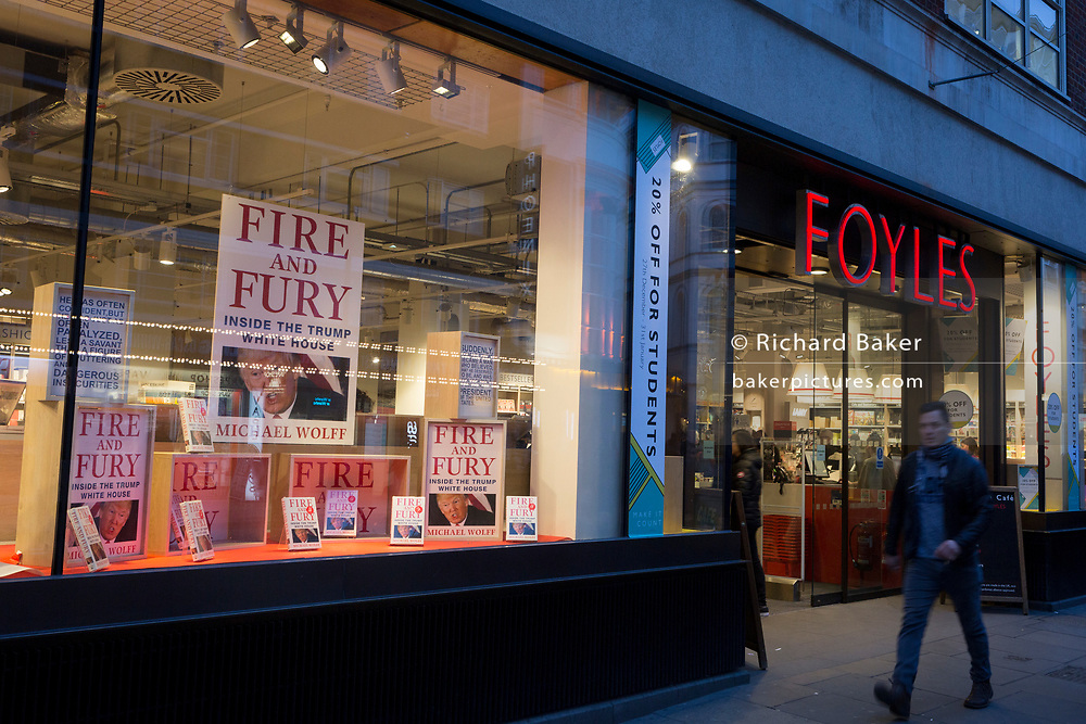Michael Wolffe's book about Donald Trump, Fire And Fury is featured as a bestseller in the window of Foyles bookshop, on 15th January 2018, on Charing Cross Road, London, England.
