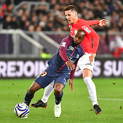 (L-R) Lassana Diarra of PSG and Stevan Jovetic of Monaco during the Final of the French League Cup between Paris Saint Germain (PSG) and AS Monaco on March 31, 2018 in Bordeaux, France. (Photo by Dave Winter/Icon Sport)
