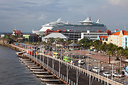 Willemstad, Curacao: Royal Caribbean's Adventure of the Seas cruise ship docked at the town's cruise port.