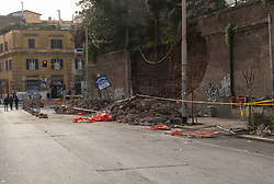 Italy, Rome - December 16, 2018.A wall of Villa Mercede collapses in San Lorenzo: damaged cars and motorbikes. (Credit Image: © Sisto/Fotogramma/Ropi via ZUMA Press)