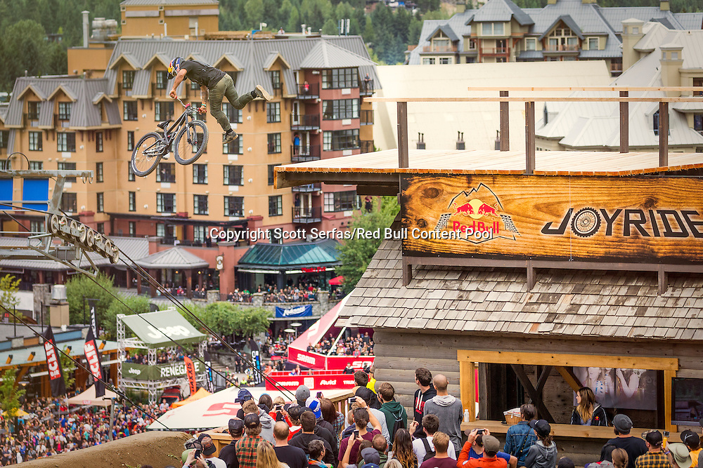 Yannick Granieri performs a tailwhip during the finals of the Red Bull Joyride event in Whistler, Canada on August 16th, 2015. // Scott Serfas/Red Bull Content Pool // P-20150817-00111 // Usage for editorial use only // Please go to www.redbullcontentpool.com for further information. //