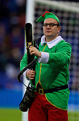 LEICESTER, ENGLAND - Boxing Day Monday, December 26, 2016: An elf with an air gun during the FA Premier League match between Leicester City and Everton at Filbert Way. (Pic by David Rawcliffe/Propaganda)