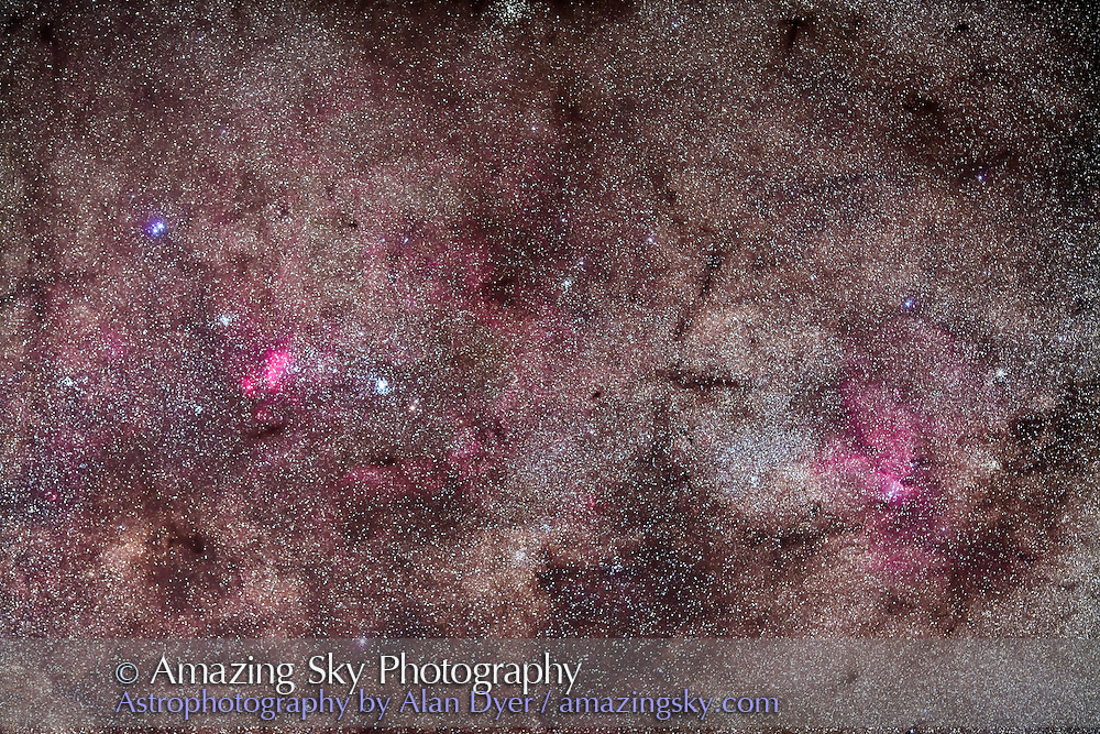 Tail of Scorpius with False Comet area (NGC 6231 and IC 4628) and Ara )with NGC 6188 nebulosity), taken from Atacama Lodge, Chile, March 2010, with Canon 5D MkII (modified) and Canon L-series 135mm lens at f/2.8 for stack of 5 x 4 minute exposures at ISO 800. Focus a tad soft.