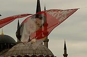 Turkish Election flags for Akp in Istanbul Turkey, portrait of Ahmet Davutoglu