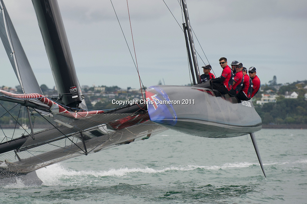Emirates Team New Zealand take their AC45 for its first sail on the Waitamata harbour in Auckland. 16/3/2011